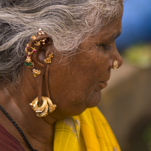 Hindu Woman With Several Earrings And Rings Hung At Her Ears, Madurai, India