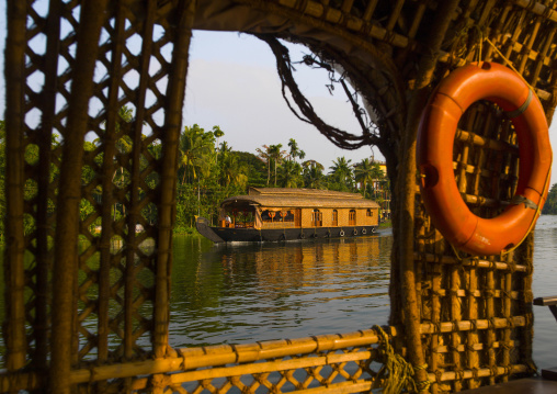 View From The Inside Of A Houseboat Sailing On Kerala Backwaters, Alleppey, India