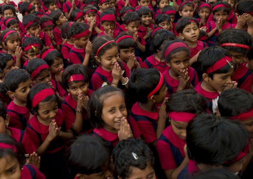 Group Of Schoolchildren In Uniform Praying, Kochi, India