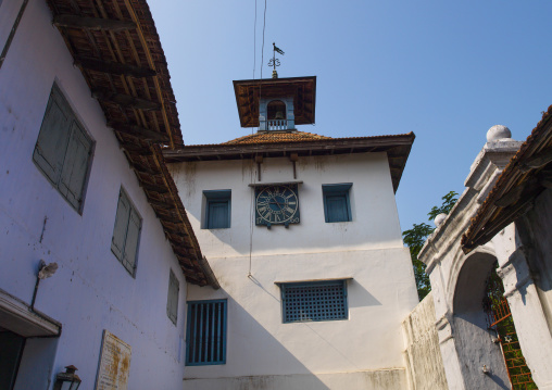 Front Of Kochi's Synagogue With A Clock On The Wall, India