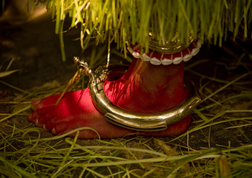 Painted Foot Of A Theyyam Artist Ready For Theyyam Ceremony, Thalassery, India