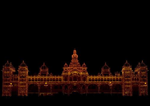 Maharaja's Palace Illuminated At Night, Mysore, India