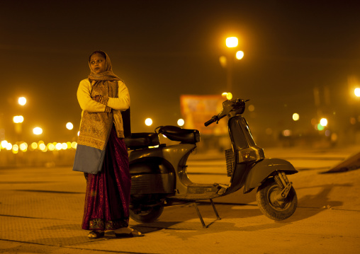 Woman With Her Scooter, Maha Kumbh Mela, Allahabad, India