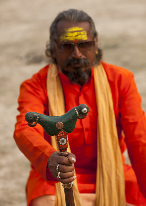 Pilgrim With Cane, Maha Kumbh Mela, Allahabad, India