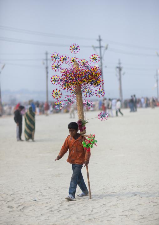 Young Kid Selling Toys, Maha Kumbh Mela, Allahabad, India