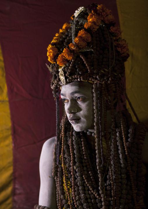 Sadhu With Rudraksha Mala, Maha Kumbh Mela, Allahabad, India