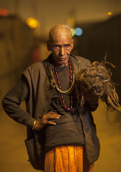 Pilgrim With His Hair Shaved At Maha Kumbh Mela, Allahabad, India