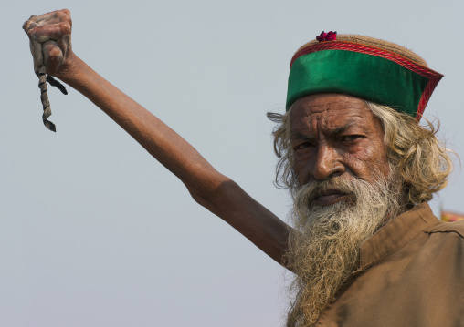 Sadhu Amar Bharati Holding His Arm Up For 38 Years, Maha Kumbh Mela, Allahabad, India