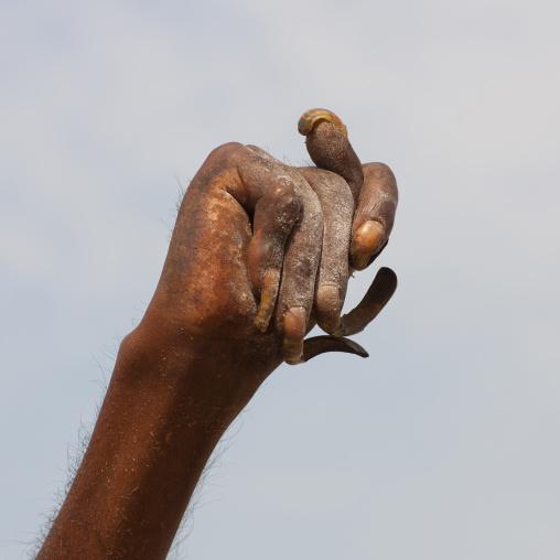 Naga Sadhu Holding His Arm Up, Maha Kumbh Mela, Allahabad, India