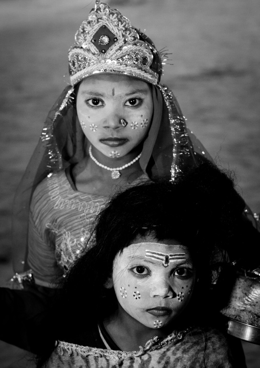 Young Girls With Shiva Make Up, Maha Kumbh Mela, Allahabad, India