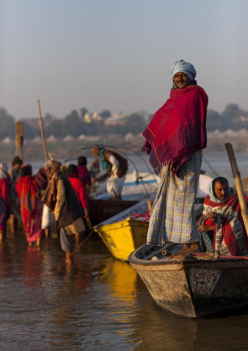 Pilgrims Bathing In Ganges, Maha Kumbh Mela, Allahabad, India