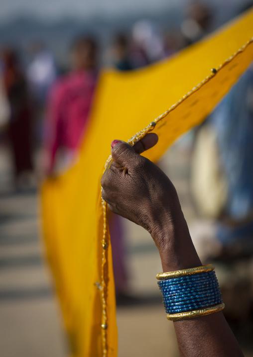 Women Drying Saris In Maha Kumbh Mela, Allahabad, India