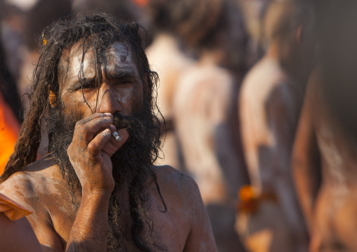Naga Sadhu From Juna Akhara Going To Bath, Maha Kumbh Mela, Allahabad, India