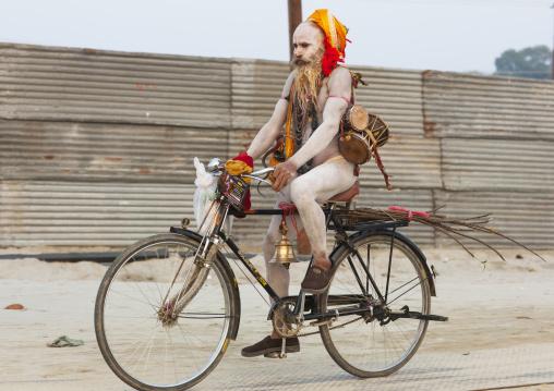 Naga Sadhu On A Bike, Maha Kumbh Mela, Allahabad, India