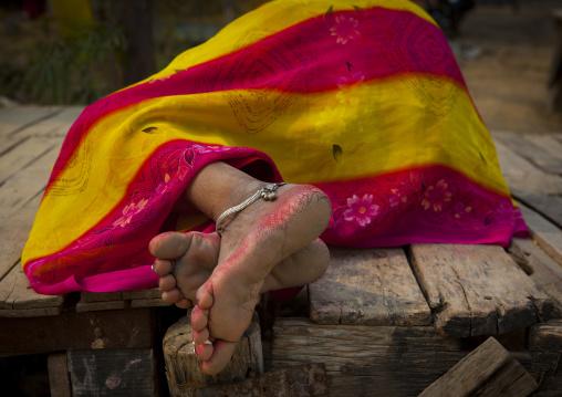 Woman Sleeping, Maha Kumbh Mela, Allahabad, India