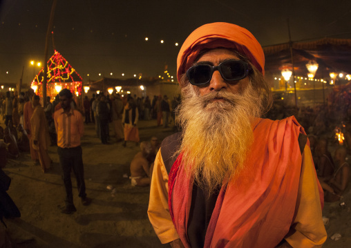 Naga Sadhu With Sunglasses, Maha Kumbh Mela, Allahabad, India