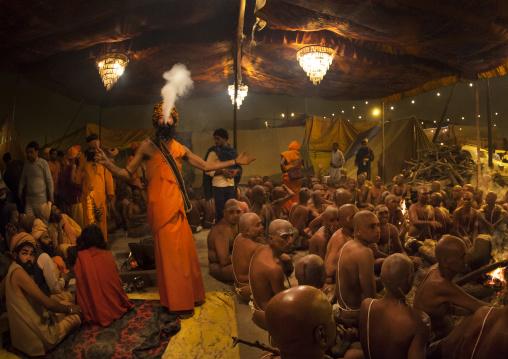 Young Men Becoming Naga Sadhu, Maha Kumbh Mela, Allahabad, India