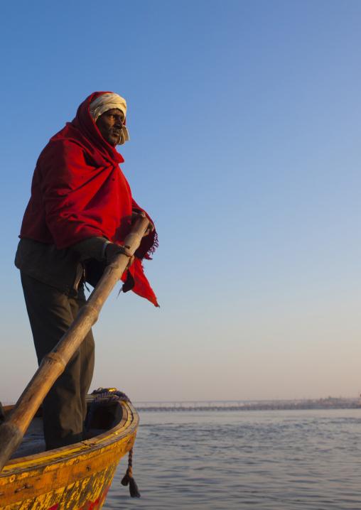 Man On A Boat, Maha Kumbh Mela, Allahabad, India