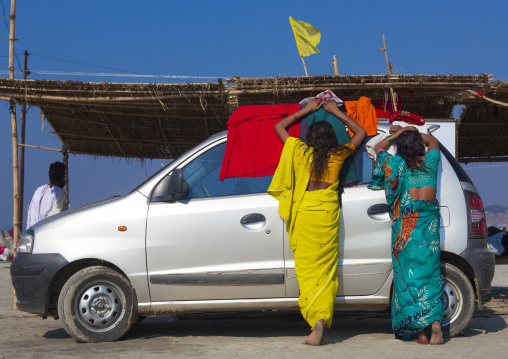Women Drying Their Saris, Maha Kumbh Mela, Allahabad, India