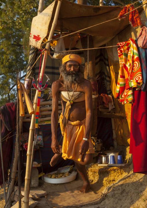 Naga Sadhu Standing On One Leg For One Year, Maha Kumbh Mela, Allahabad, India