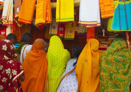 Pilgrims Buying Saris At Maha Kumbh Mela, Allahabad, India
