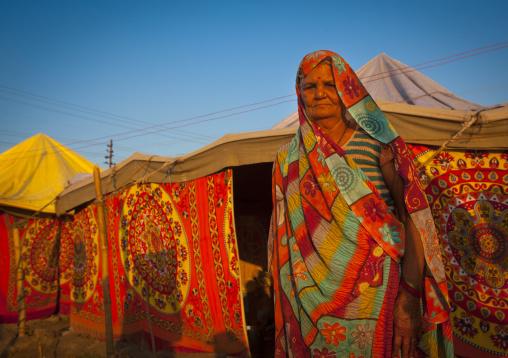 Pilgrim Woman At Maha Kumbh Mela, Allahabad, India