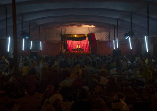 Guru during a conference in An Ashram, Maha Kumbh Mela, Allahabad, India