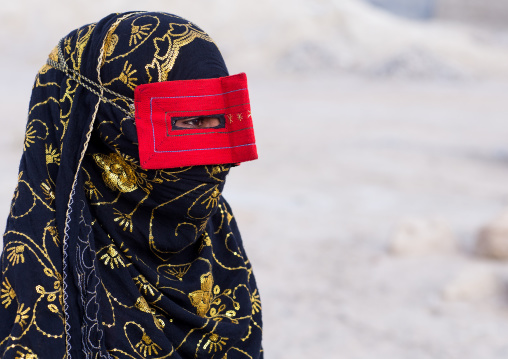 A bandari woman wearing a traditional mask called the burqa, Qeshm island, Salakh, Iran