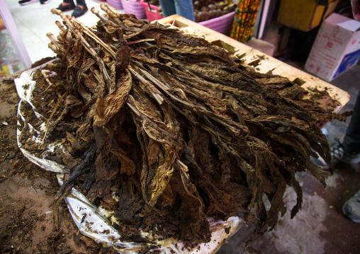 tobacco leaves sold in the bazaar, Hormozgan, Bandar Abbas, Iran