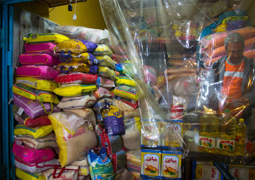 Bags of basmati and long grain rice in shop window, Hormozgan, Bandar abbas, Iran