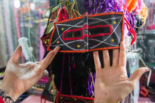 face mask sold in a shop in the bazaar, Hormozgan, Bandar Abbas, Iran