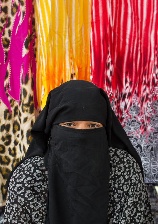 veiled bandari woman at the panjshambe bazar thursday market, Hormozgan, Minab, Iran