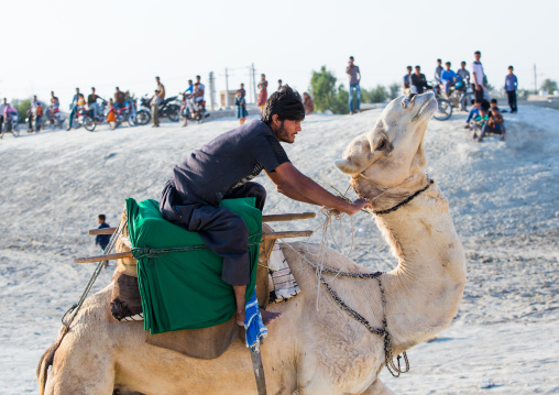 a man racing a camel during a traditional wedding, Qeshm Island, Salakh, Iran