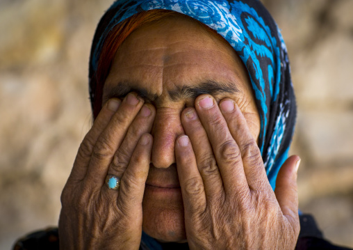 Old Kurdish Woman With Her Fingers On Her Eyes, Palangan, Iran
