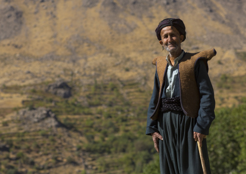 Kurdish old man with traditional clothing, Howraman, Iran
