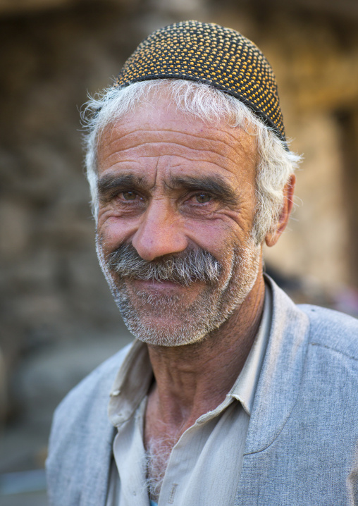 Kurdish man with traditional hat, Palangan, Iran