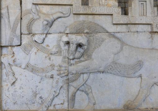 Bas-relief of a symbol in zoroastrian for nowruz, Fars province, Persepolis, Iran