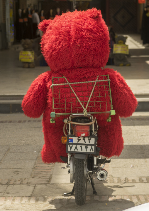 Giant teddy bear on a motorbike, Fars province, Shiraz, Iran