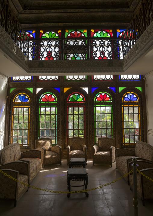 The stained glass windows of narenjestan, Fars province, Shiraz, Iran