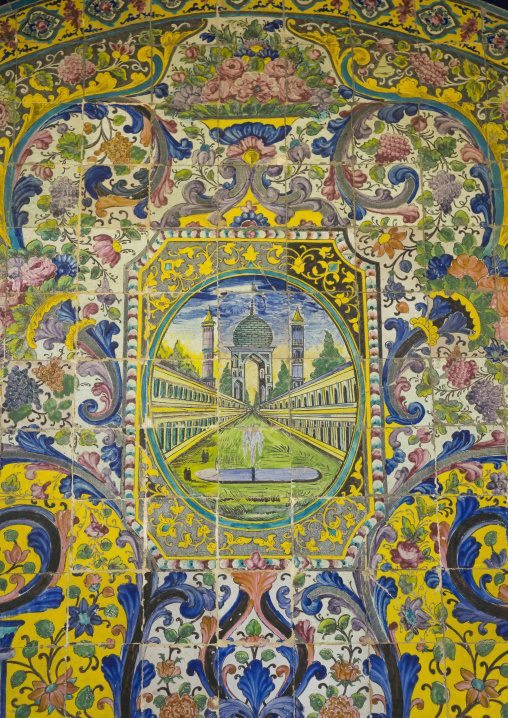 Decorated tile work at the golestan palace, Shemiranat county, Tehran, Iran