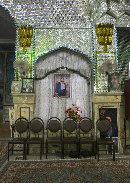 Martyrs portraits from the iran iraq war inside the shrine of hasan ibn musa ibn ibn jafar, Isfahan province, Kashan, Iran