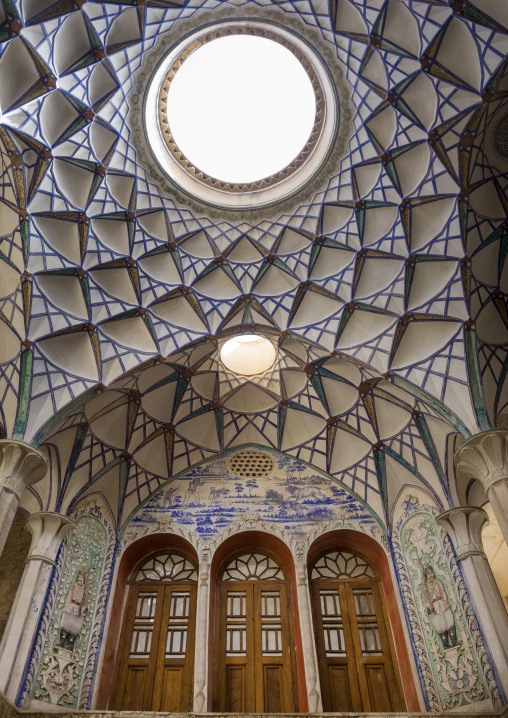 Ceiling with its intricate and elaborate patterns in sultan amir ahmad bathhouse ceiling, Isfahan province, Kashan, Iran