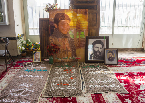 Martyrs war portraits in the sacred shrine of the holy sultan amir ahmad, Isfahan province, Kashan, Iran