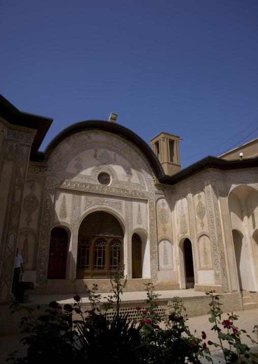 Courtyard of tabatabei historical house, Isfahan province, Kashan, Iran