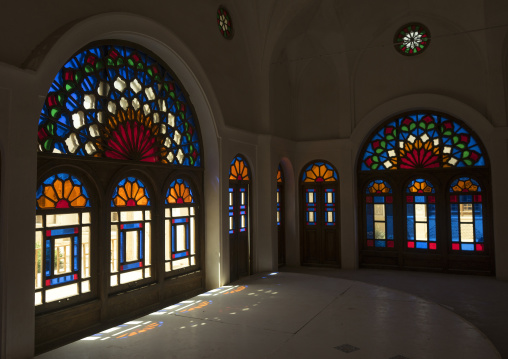 The stained glass windows of tabatabaei historical house, Isfahan province, Kashan, Iran
