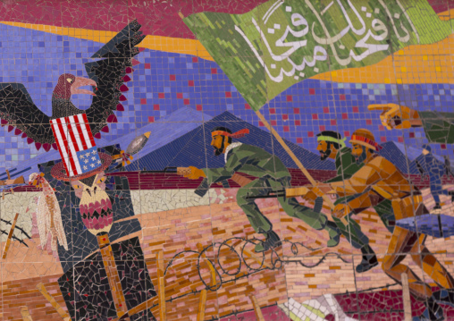 Propaganda with iranian soldiers fighting the american eagle, Shemiranat county, Tehran, Iran
