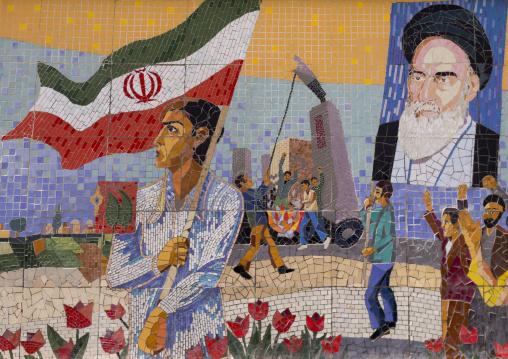 Propaganda with ayatollah khomeini mural painting, Shemiranat county, Tehran, Iran