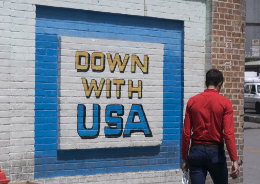 Anti american mural on the wall of the former american embassy, Shemiranat county, Tehran, Iran