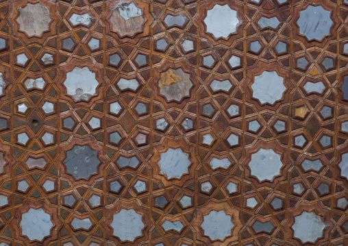 Ceiling with its intricate and elaborate patterns in hasht behesht palace, Isfahan province, Isfahan, Iran