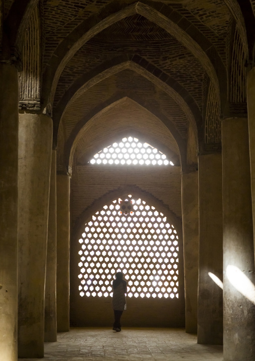 Woman looking thru the window of the friday mosque, Isfahan province, Isfahan, Iran